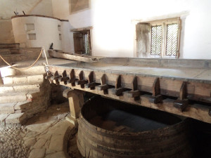 Medieval brewhouse - sanitation not so important, they cooled the beer on this huge tray!