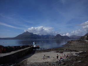 Elgol wharf looking to the Cuillin Mountains