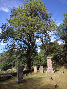 Peaceful cemetery at Achness falls
