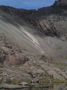 Other side - dots on top are hikers, they came down the scree slopes there in time
