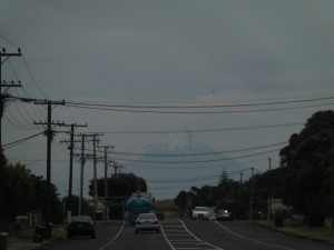 Mt Taranaki appearing in the distance, Hawera or maybe closer to Whanganui