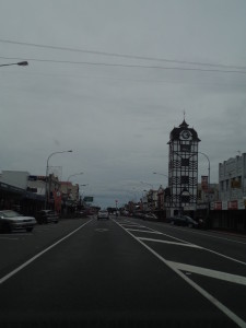 Stratford main street. Typical NZ town (though the clock tower is cool!)