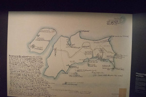 1793 sketch map by a Maori guy of New Zealand, from Norfolk Island
